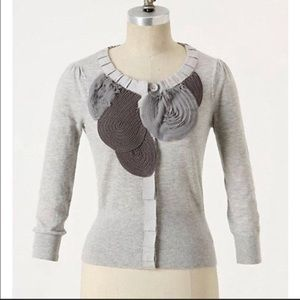 Anthro Knitted Knotted Gray Embellished Cardigan